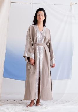 Beige Sequined Maxi Abaya