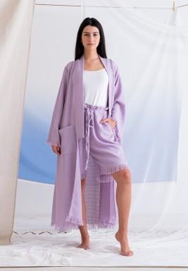 Purple Bisht & Shorts Towel Set