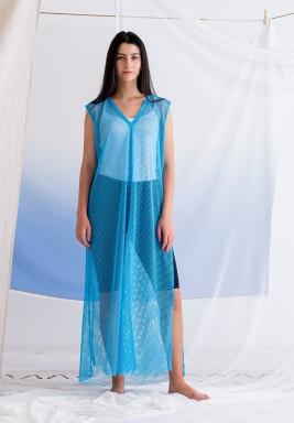 Blue Sleeveless Mesh Dress