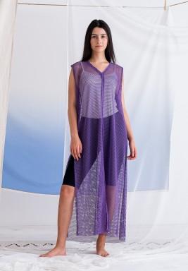 Purple Sleeveless Mesh Dress