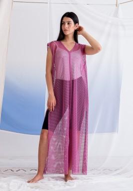 Light Purple Sleeveless Mesh Dress