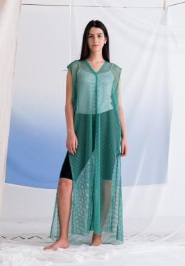 Green Sleeveless Mesh Dress