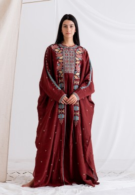 Maroon Embroidered Dress with Inner Cami