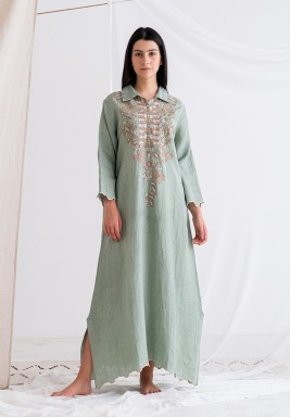 Olive embroidered maxi dress