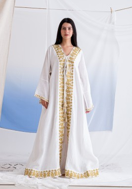 White Long Abaya with Embroidery and Tassel Details & Inner Dress