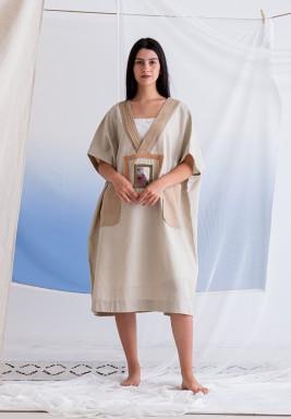 Beige V-Neck Shirt Dress