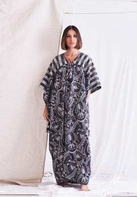 Black & Off-White Printed Dress