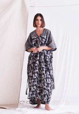 Black & Grey Printed Dress