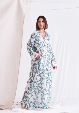 Green & White Floral Maxi Dress