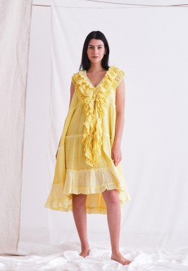 Yellow Baby Doll Dress with Ruffels & CPT Dye