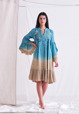 Wisteria Dress with Embroider & Tassel on Sleeve