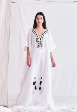 White Linen Embroidered Neck Kaftan
