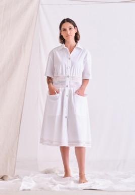 White Gathered Waist Midi Dress