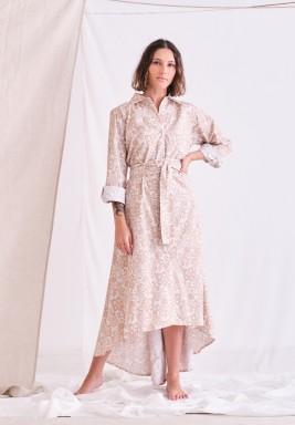 Beige High-Low Belted Dress