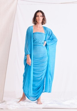 Blue Bisht & Dress Set