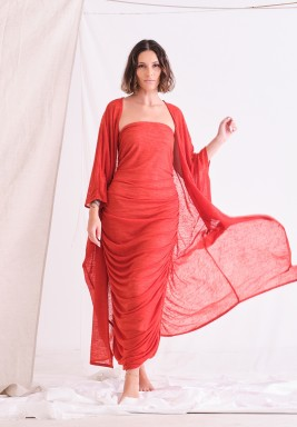 Orange Bisht & Dress Set