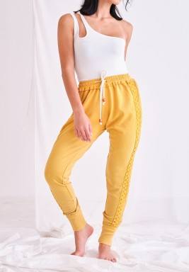 Solid Yellow Pants with Lace