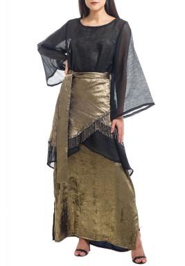 Black & Gold 3 Pieces Wrap Kaftan