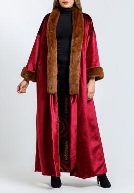 Maroon Fur Belted Maxi Bisht