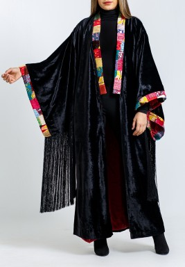 Black Velvet Tasseled Sleeves Bisht