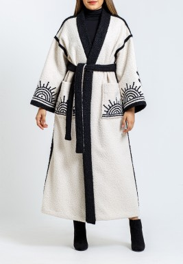 Off-White & Black Embroidered Bisht