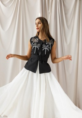 White Tulle Kaftan with Palm Vest