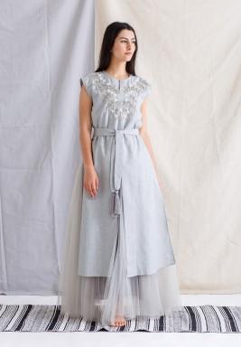 Grey Embroidered Tulle Kaftan