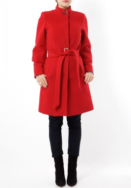 Red Wool Belted Coat