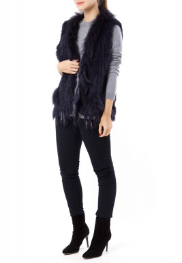Navy Fur Sleeveless Jacket