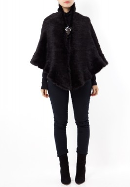 Black Fur High Neck Shawl