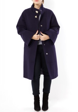 Navy High Neck Wool Coat
