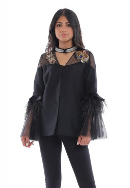 Black Butterfly Feather Jacket
