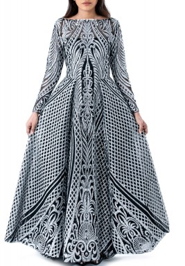 Black & Silver Tartar Long Gown