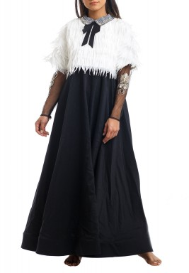 Black & White Mesh Sleeves Kaftan