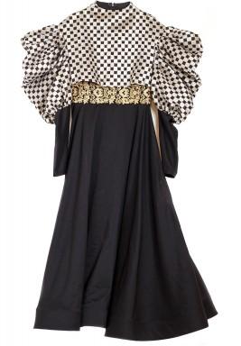 Black & White Patterned Puffed Sleeves Kaftan
