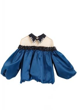 Blue Crystal Puffed Sleeves Top