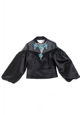 Black Crystal Embellished Organza Top