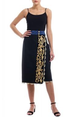 Black Vintage Embroidered Midi Skirt