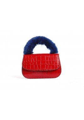 Dana Red Leather & Fur Bag
