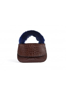 Coffee Dana Leather & Fur Bag