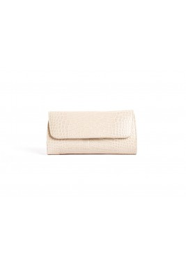 Gala Beige Leather Clutch
