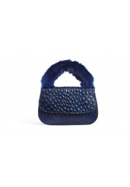 Dana Navy Leather & Fur Bag