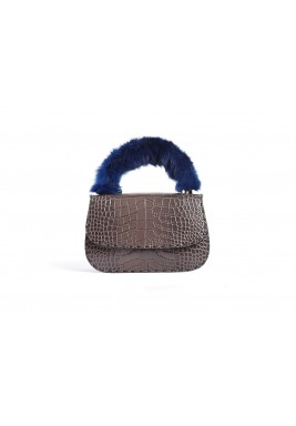 Dana Grey Leather & Fur Bag