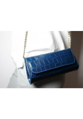 Gala Petrol Leather Clutch
