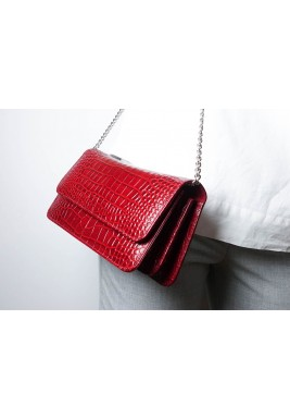 Lady Like Red Leather Clutch