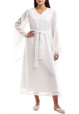 Rabia White Sequined Feather Sleeves dress