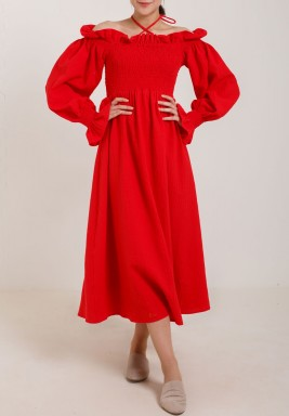 Long sleeve dress red