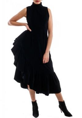 Black ruffled velvet dress