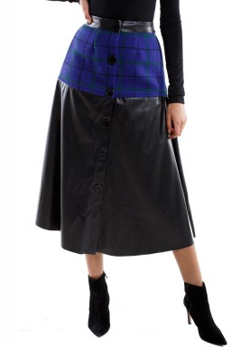 Leather Blue & Black Skirt