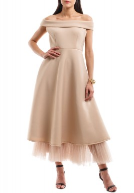 Beige Off-Shoulders Tulle Hem Dress